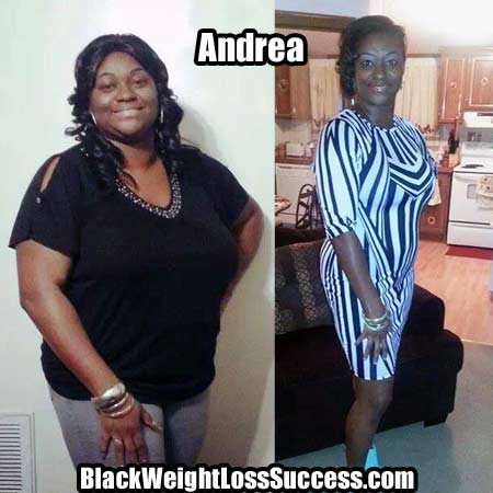 Andrea before and after weight loss