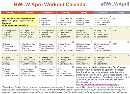 April Workout Calendar