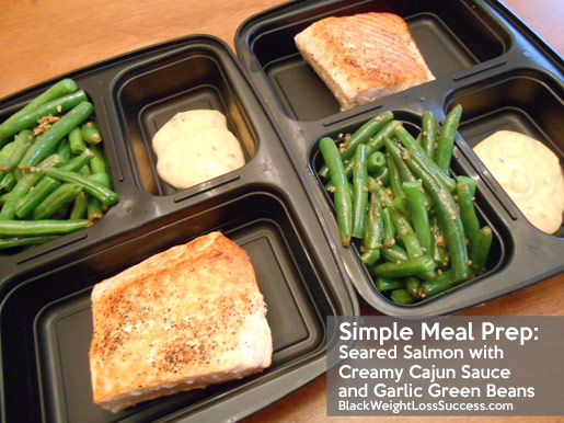 Meal Prep Seared Salmon With Creamy Cajun Sauce And