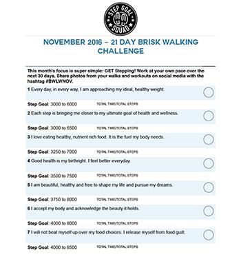 21 day brisk walking challenge