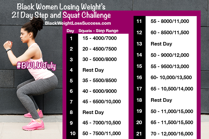21 Day Step And Squat Challenge Black Weight Loss Success