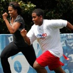 Michelle obama works out