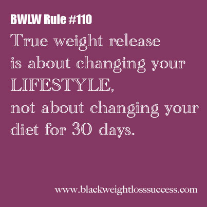 BWLW Rule #110 - Lifestyle Change, not a 30 day diet ...