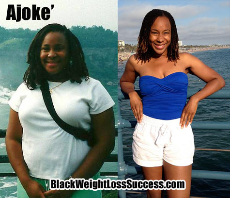 ajoke' shares her 75 pound weight loss story  black