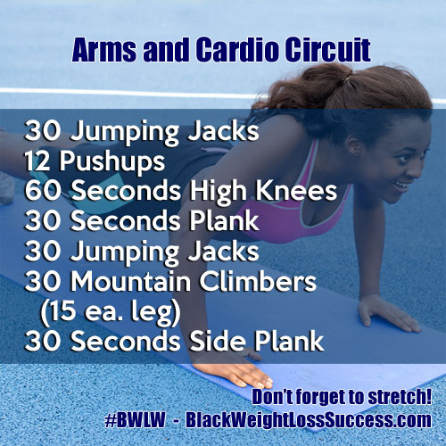 Arms and Cardio Circuit Workout | Black Weight Loss Success
