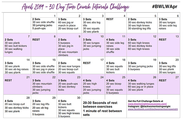 April Exercise Calendar