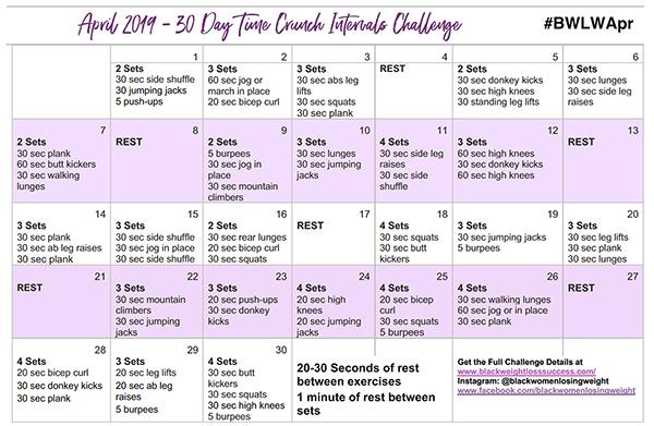 April Exercise Calendar