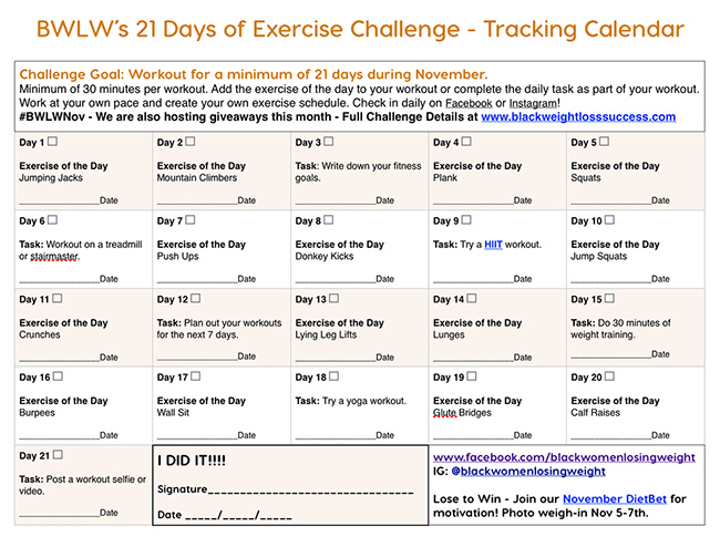 tracking calendar november