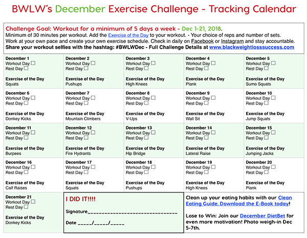 December exercise calendar