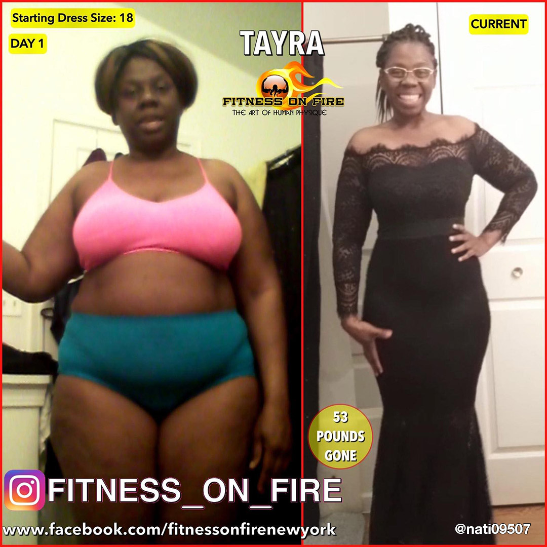 Tayra before and after