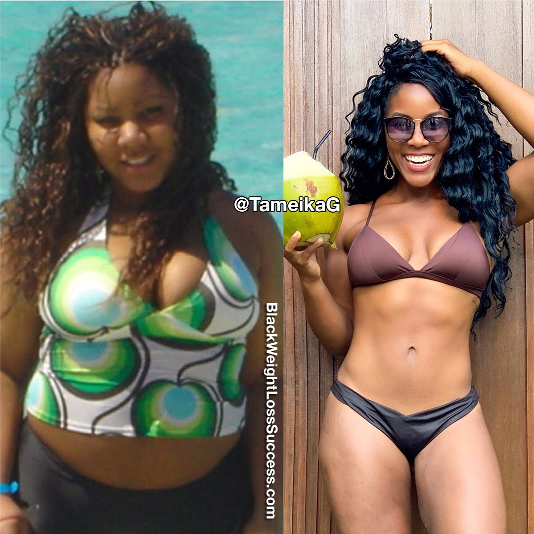Tameika lost 90 pounds
