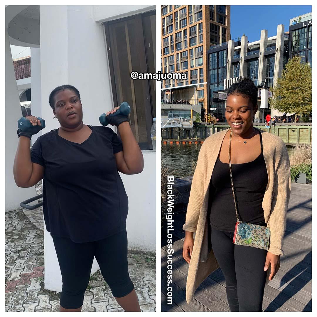 Amaju lost 73 pounds