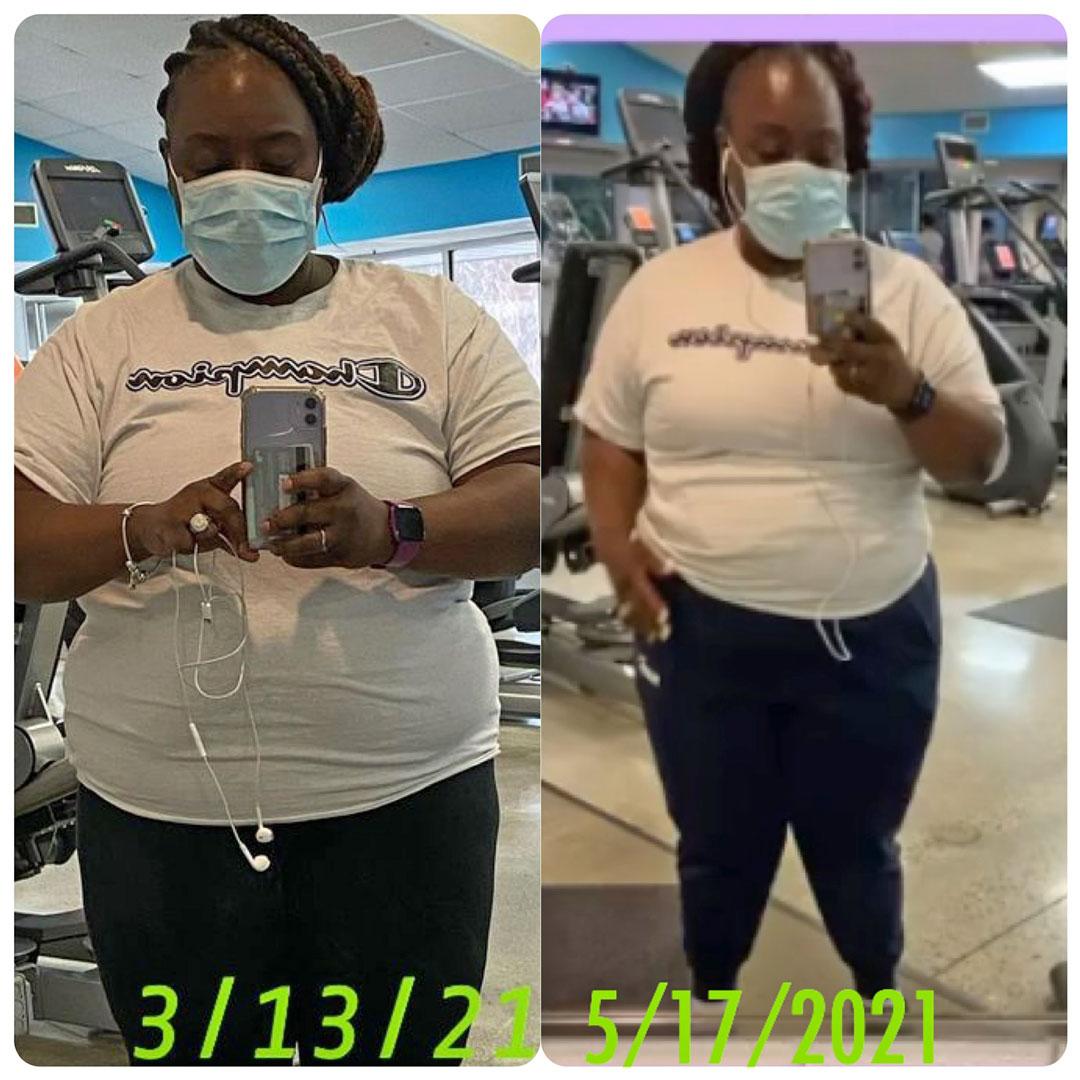 Essie lost 72 pounds