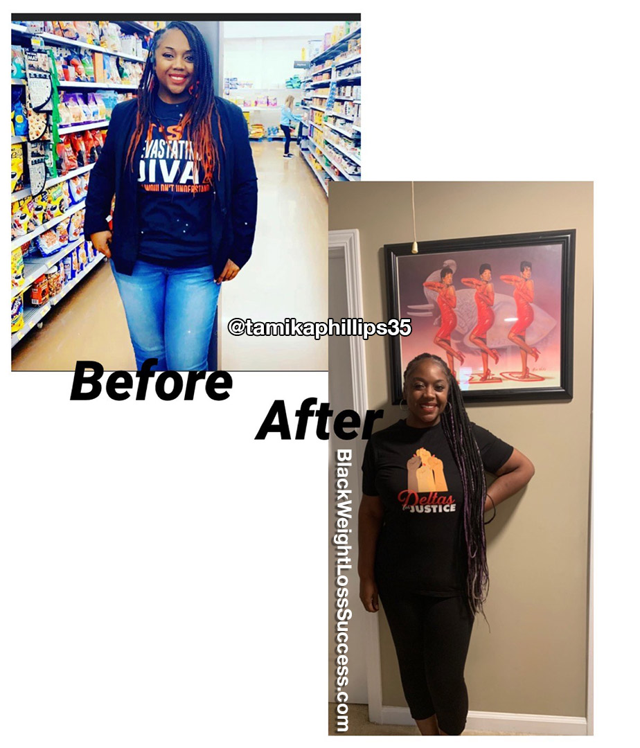 Tamika lost 35 pounds