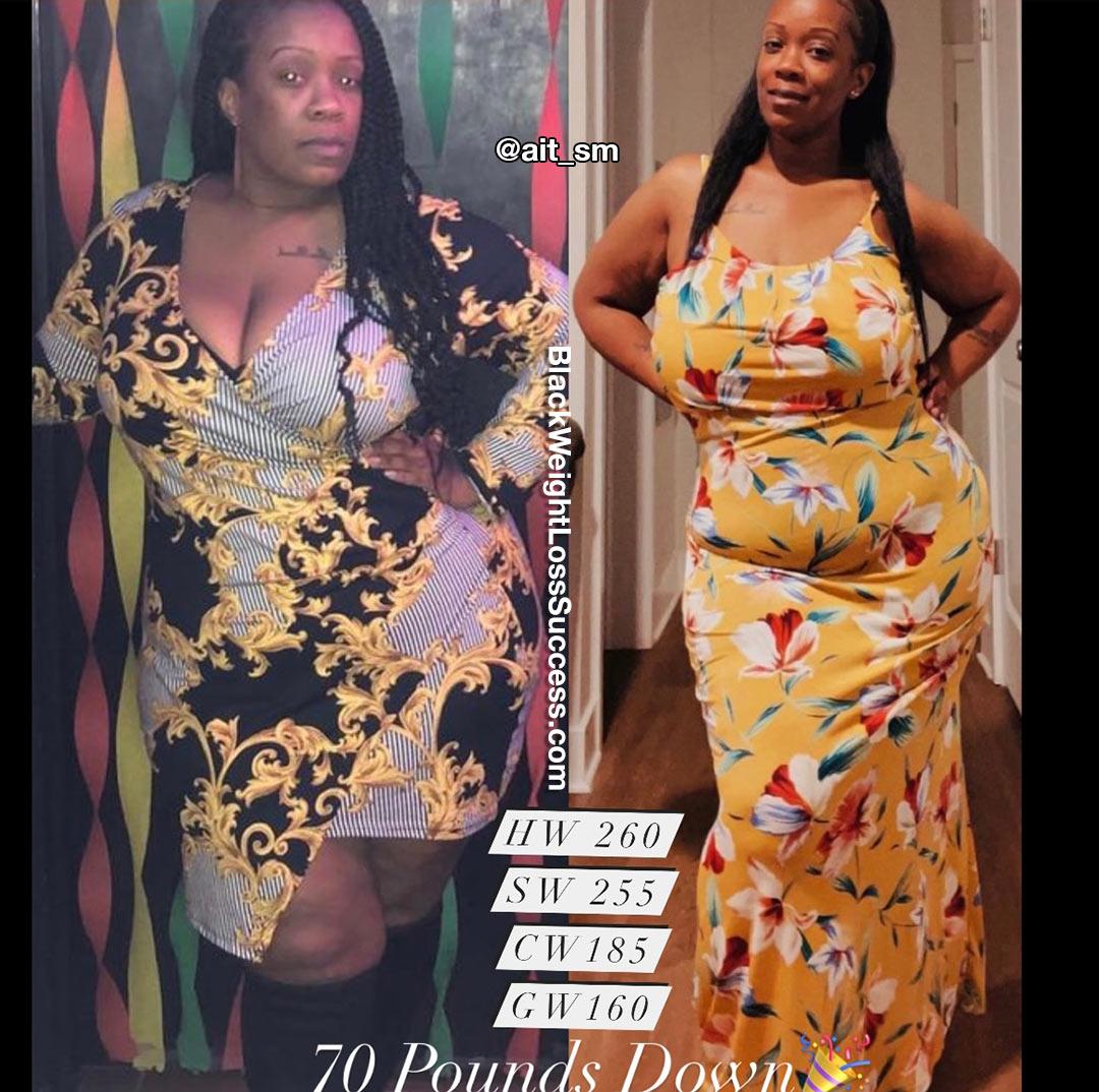 Tia lost 74 pounds